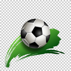 Football ball with green hand painted brush stroke on transparent background. Soccer ball icon. Vector illustration. Element for design poster, banner, card, flyer