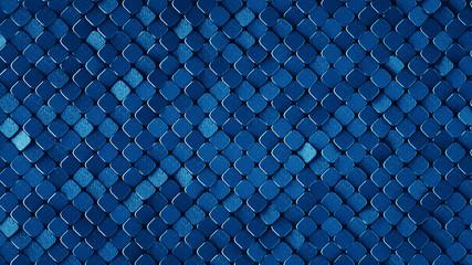 Rhombus pattern metallic blue surface 3D render