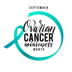 Cancer hope. Ovarian Cancer Awareness Label. Vector Tamplate with Teal Ribbon - Symbol of Cancer Fight