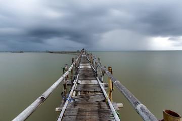 Bamboo bridge, Tanjung Kait, Banten, Java, Indonesia