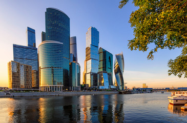 Skyscrapers of Moscow City business center and Moscow river in Moscow at sunset, Russia