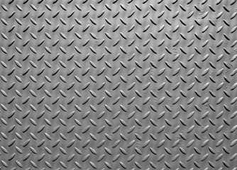 grey steel metal plate with painted surface and industrial diamond pattern texture