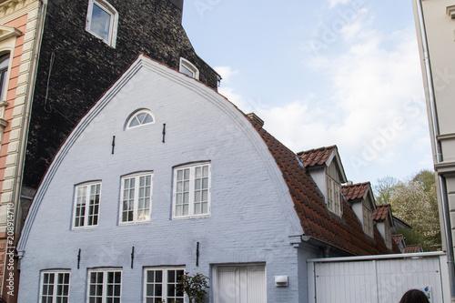 Tonnendach Haus Mit Rotem Ziegeldach Hellblauer Fassade Und