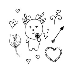 Lovely vector deer the romantic from dandelions in a hand.