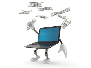 Laptop character catching money