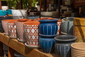 White blue and orange decorative pots