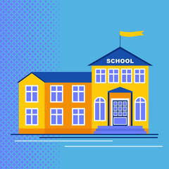 School building flat vector cartoon illustration. Objects isolated on a white background.