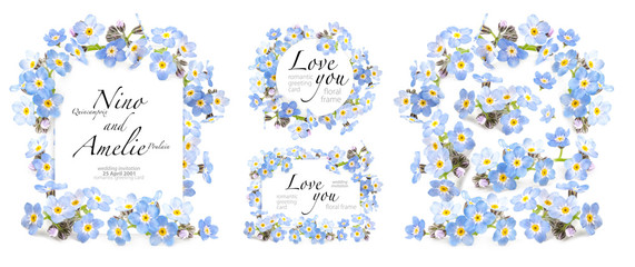 Romantic greeting card. Beautiful spring forget-me-nots flowers