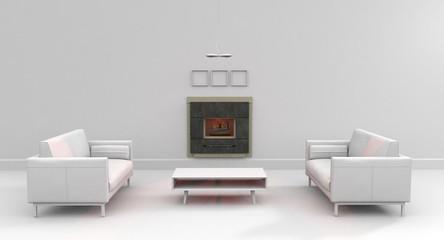 Salón blanco chimenea