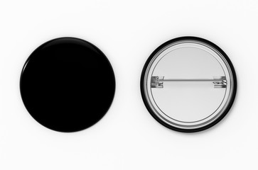 Badge. Blank black pin button front and back view . 3D Illustration.