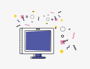 online shopping with display computer pop art style vector illustration design