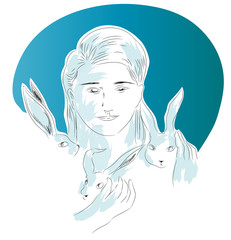 Bunny and woman.  illustration of woman hugging her bunnies and looking at us.