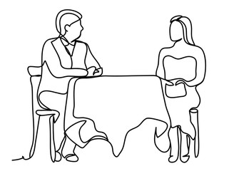 Man and woman eating on a date seated at a restaurant table isolated on white background. Continuous line drawing. Isolated on the white background. Vector monochrome, drawing by lines