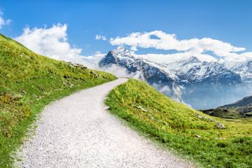 Wanderweg in den Schweizer Alpen in der Jungfrau Region nahe Grindelwald