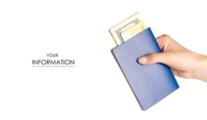 International passport money dollars payment card in hand travel pattern on white background isolation