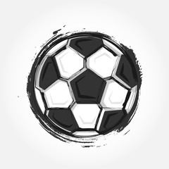 Grunge style football on grey colour gradient background . Flat design . Vector for international world championship tournament cup 2018