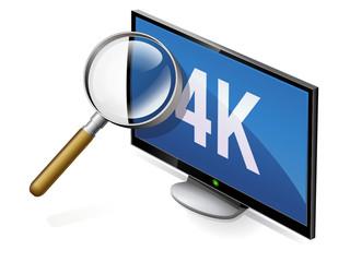 Téléviseur 4K à la loupe (reflet)