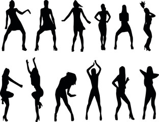 different female dancing silhouettes, people in motion