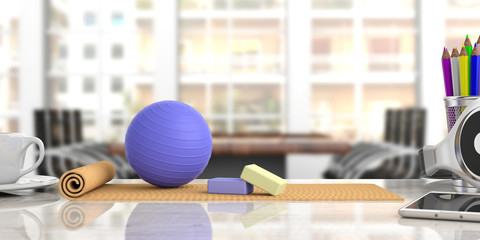 Exercise mat and pilates ball on an office desk, blur business background. 3d illustration