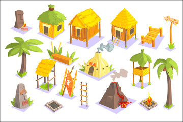 Jungle Tribal Living Houses And Other Objects