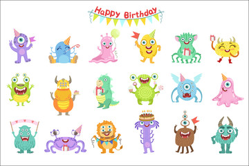 Photo sur Aluminium Creatures Friendly Monsters With Birthday Party Attributes