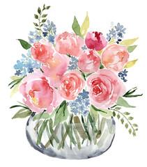 Watercolor flower bouquet vase