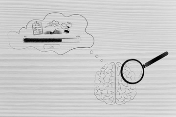 brain with magnifying glass on it with comic bubble with Memory Loading icon made of to do list book and hourglass and progress bar in its thoughts