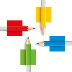 crayon - crayon de couleur - concept - présentation - créativité - symbole - couleur - quatre - créatif