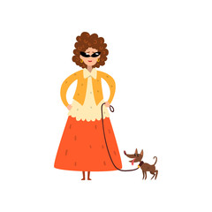 Elegant woman walking with her small pet dog vector Illustration on a white background