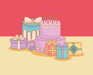 happy birthday postcard with cake and gifts vector illustration design