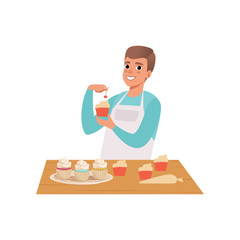 Smiling man cooking cupcakes, young man in casual clothing and apron preparing healthy meal in kitchen vector Illustration on a white background