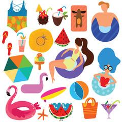 Colorful swim icon set isolated on white background.