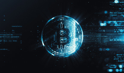Bitcoin with glowing lights..Bitcoin symbol. Coins on black background.