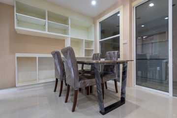 new marble dinning table set in empty room house