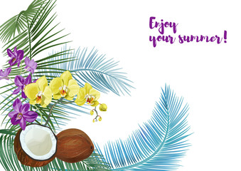 Templat for Nariyal Purnima, horizontal card: brown coconuts, palm leaves, purple Dendrobium, yellow Phalaenopsis orchid flowers. Tropical plants, white background, vector botanical illustration