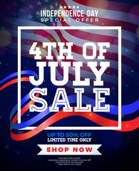 Fourth of July. Independence Day Sale Banner Design with Flag on Dark Background. USA National Holiday Vector Illustration with Special Offer Typography Elements for Coupon, Voucher, Banner, Flyer