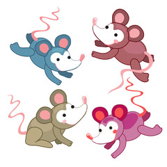 set of cute mouse in different colors. Positive attitude. Hand draw vector mouse. Can be used as a symbol, emblem, stickers for children, notebook cover, poster, postcard, Vector book illustrations.