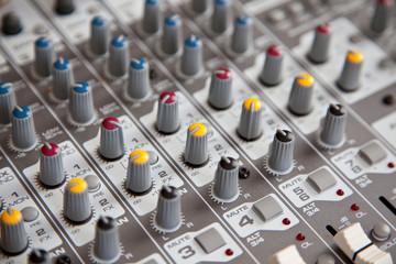 Audio studio sound mixer equalizer board controls