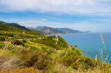 View of the coast near Cefalu in northern Sicily