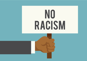 "Human hands holding placard with text ""NO RACISM"". Racism concept. Vector stock."