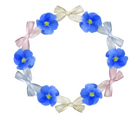 Wreath with flowers. Postcard from live flowers of cornflower and cloth ribbon for your text.