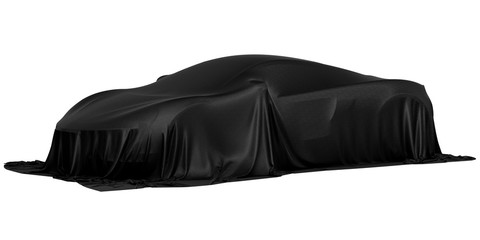 Racing design car covered with black cloth