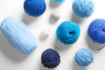 Color knitting yarn on textured background