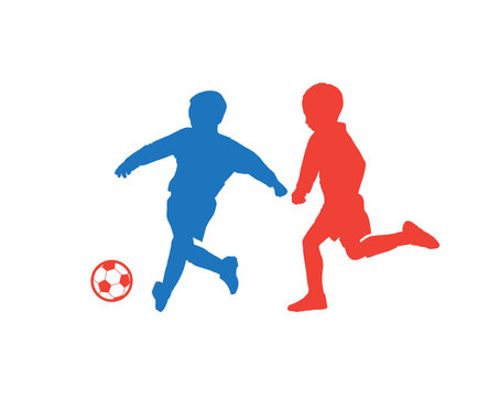 Kids soccer players with soccer ball silhouette isolated on white background, football vector summer camp competition team sports games banner, dynamic athletic children run, activity, fitness club