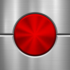 Fototapete - Red metal circle button, technology badge with metallic backhround, bevels and polished, brushed texture, chrome, silver, steel, aluminum for design concepts, web and prints. Vector illustration.