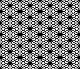 Seamless pattern based on japanese ornament Kumiko black and white silhouette