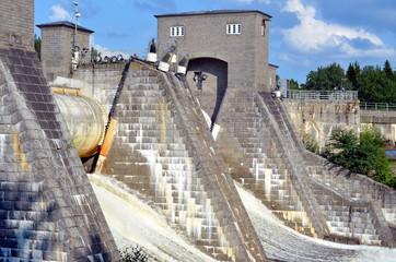 View of   hydroelectric power station dam Imatrankoski  in Imatra, Finland