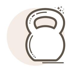 Vector kettlebell lineart icon.