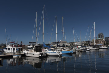Boats at Fisherman's Wharf, Inner Harbour, Victoria, Vancouver Island, British Columbia, Canada