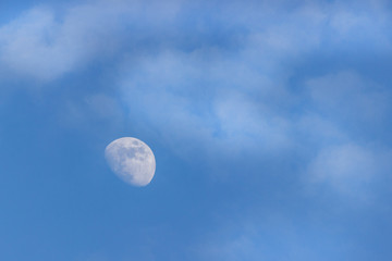 moon in the dark blue sky, background